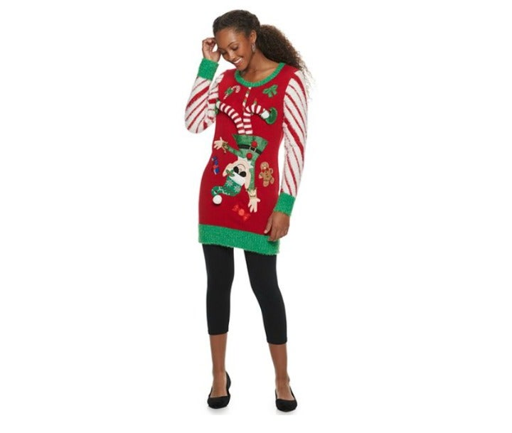 Ugly Christmas Sweater Tunic Elf XS