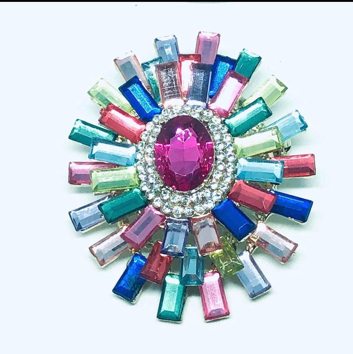 Brooch statement pin multicolor crystals