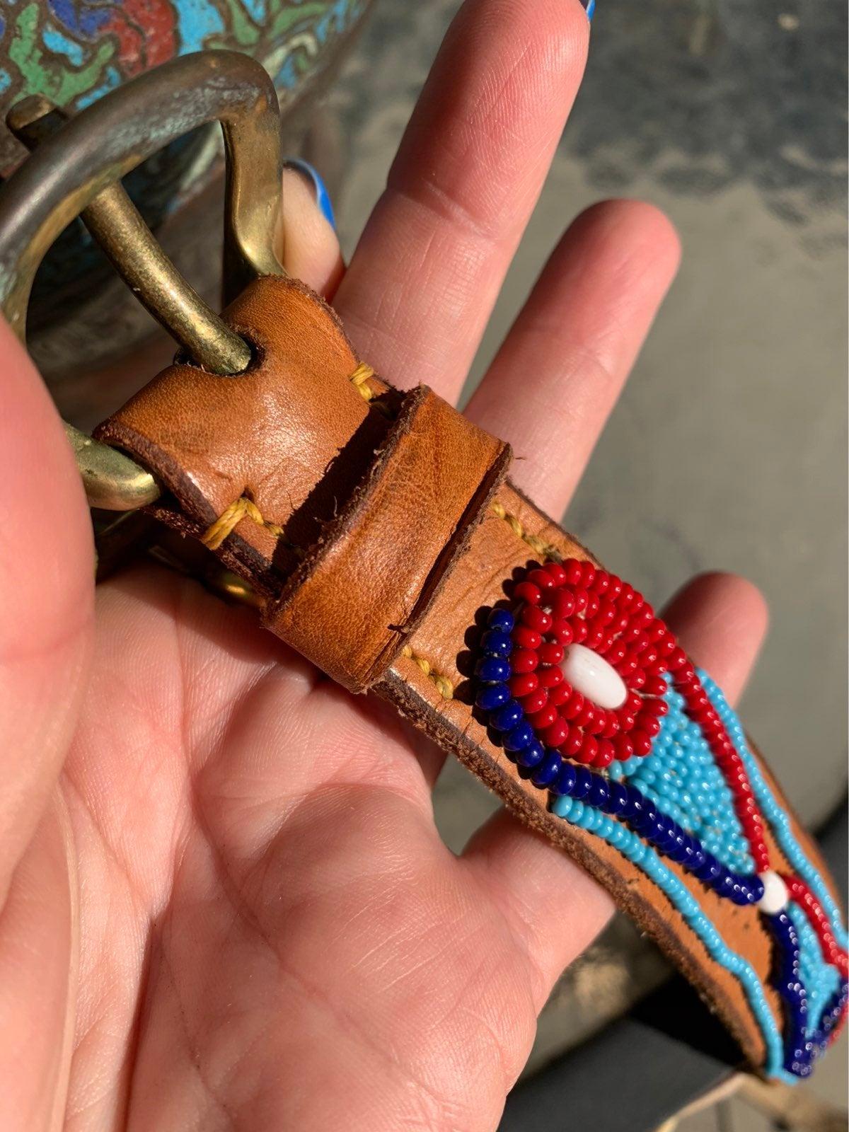 brown studded medallion belt boho belt antique gold metal belt SM southwestern brown genuine leather belt Vintage New York Studio belt