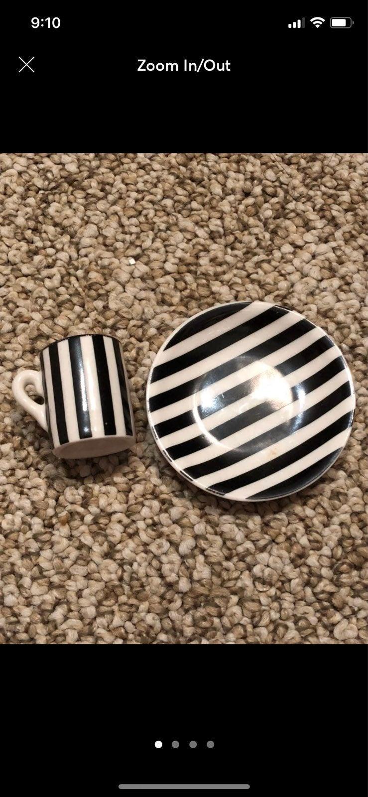 American girl black & white stripe dishe