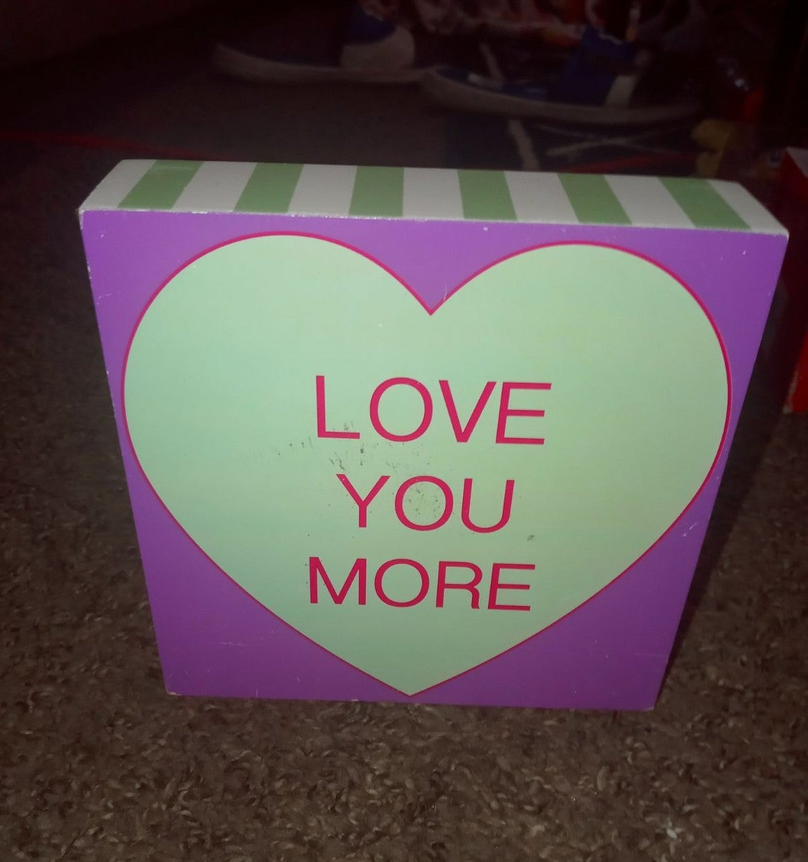 Love you more heart home decor sign