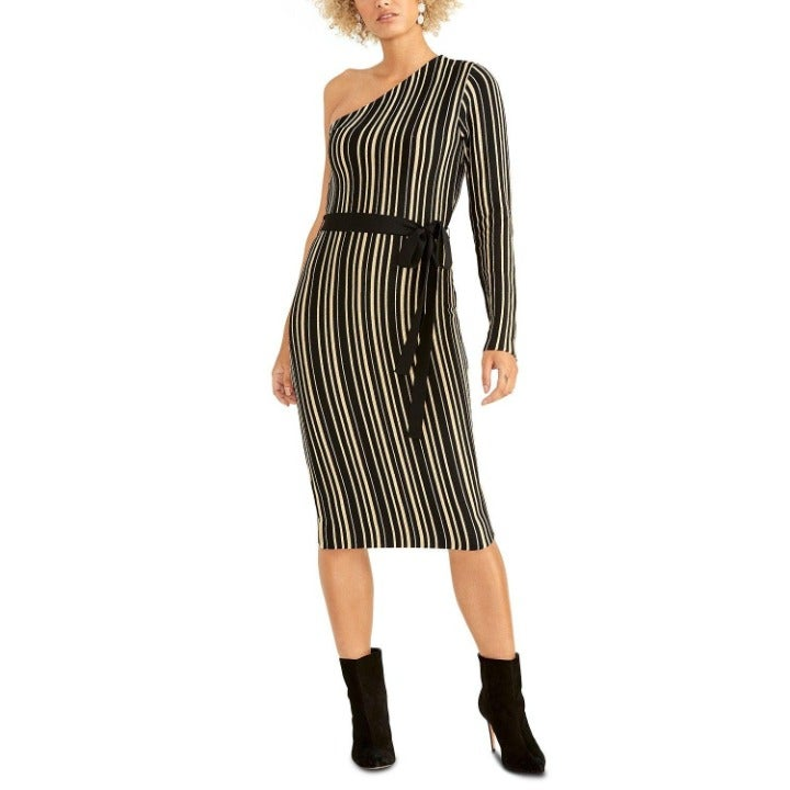 Rachel Roy NWT $139 Women's Black/Gold Belted One-Shoulder Stretchy Dress Small