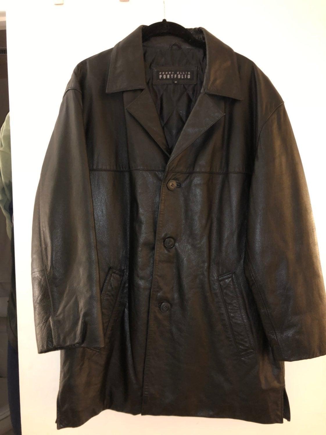 Perry Ellis Portfolio Men's Leather Jack