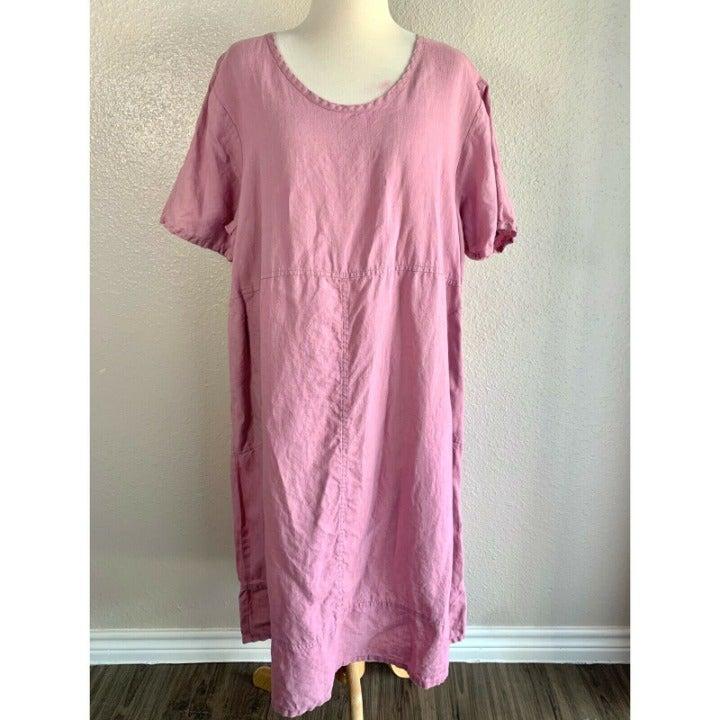Flax Midi Dress Half Sleeve Lagenlook