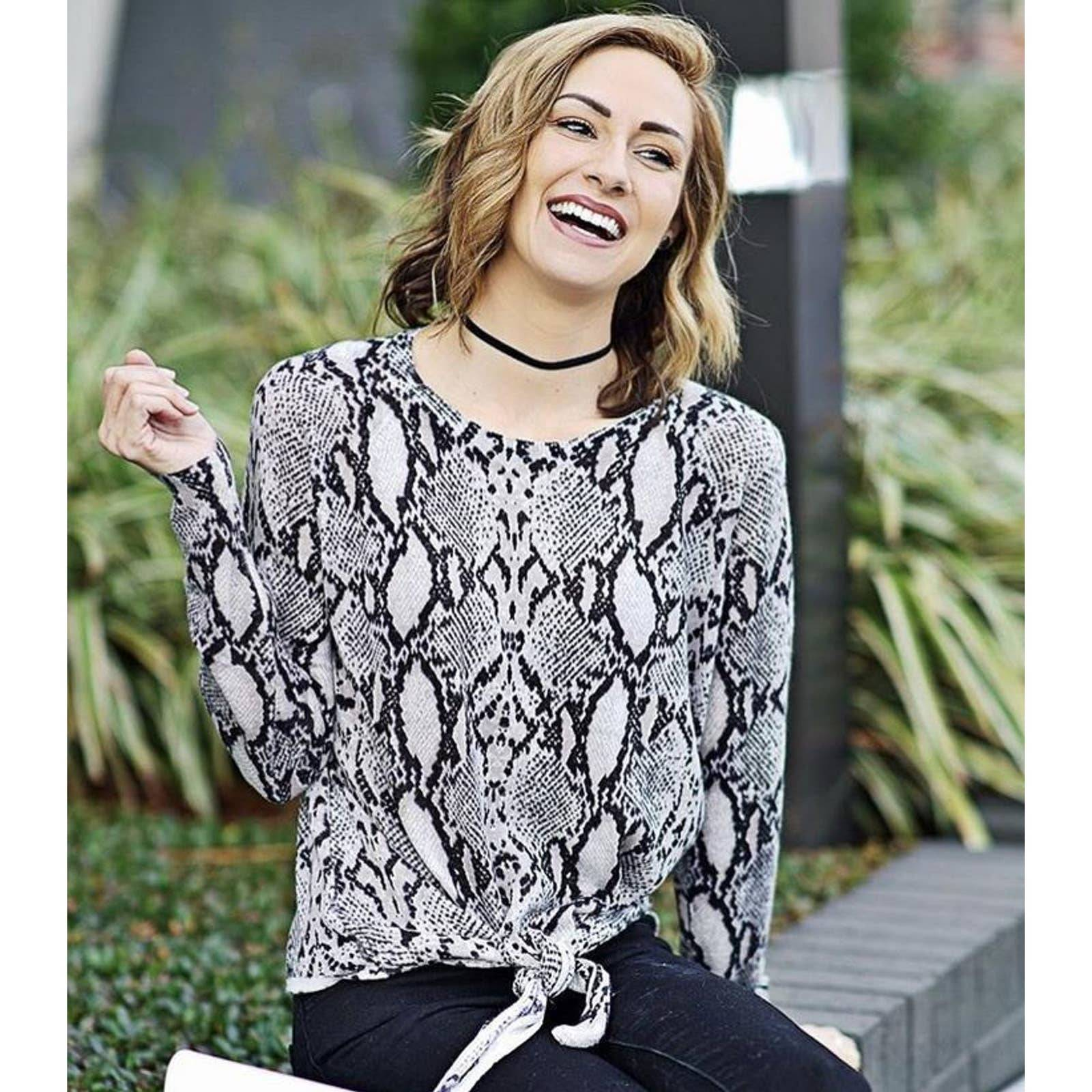 Olivaceous Snake Print Wool Blend Top S