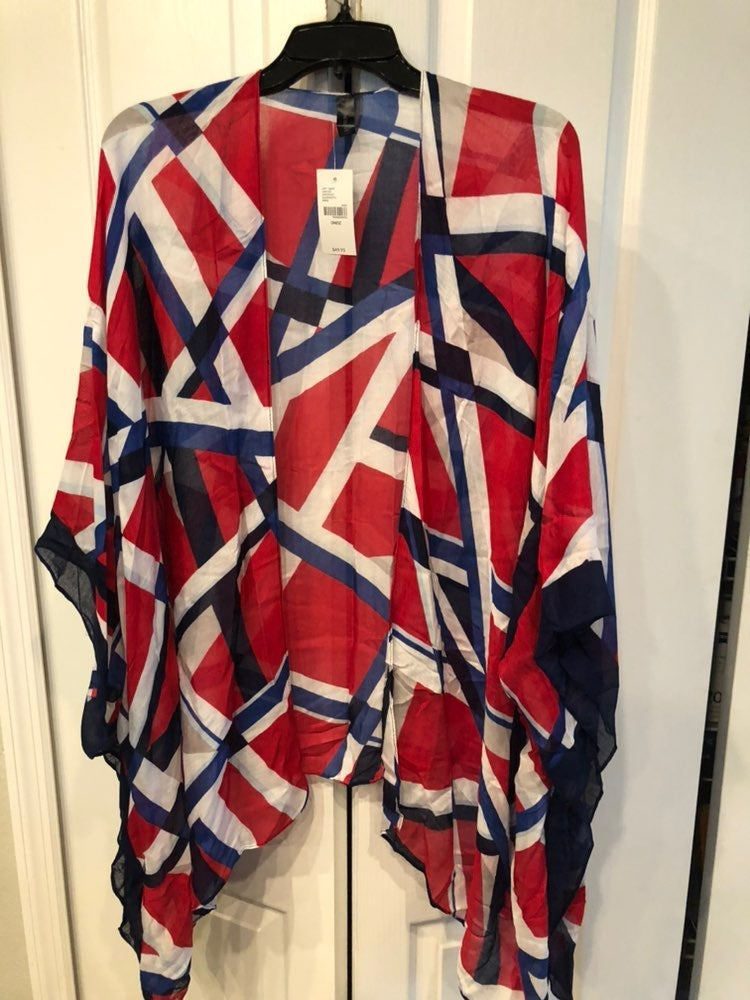 Nwt lane bryant duster red/blue/white