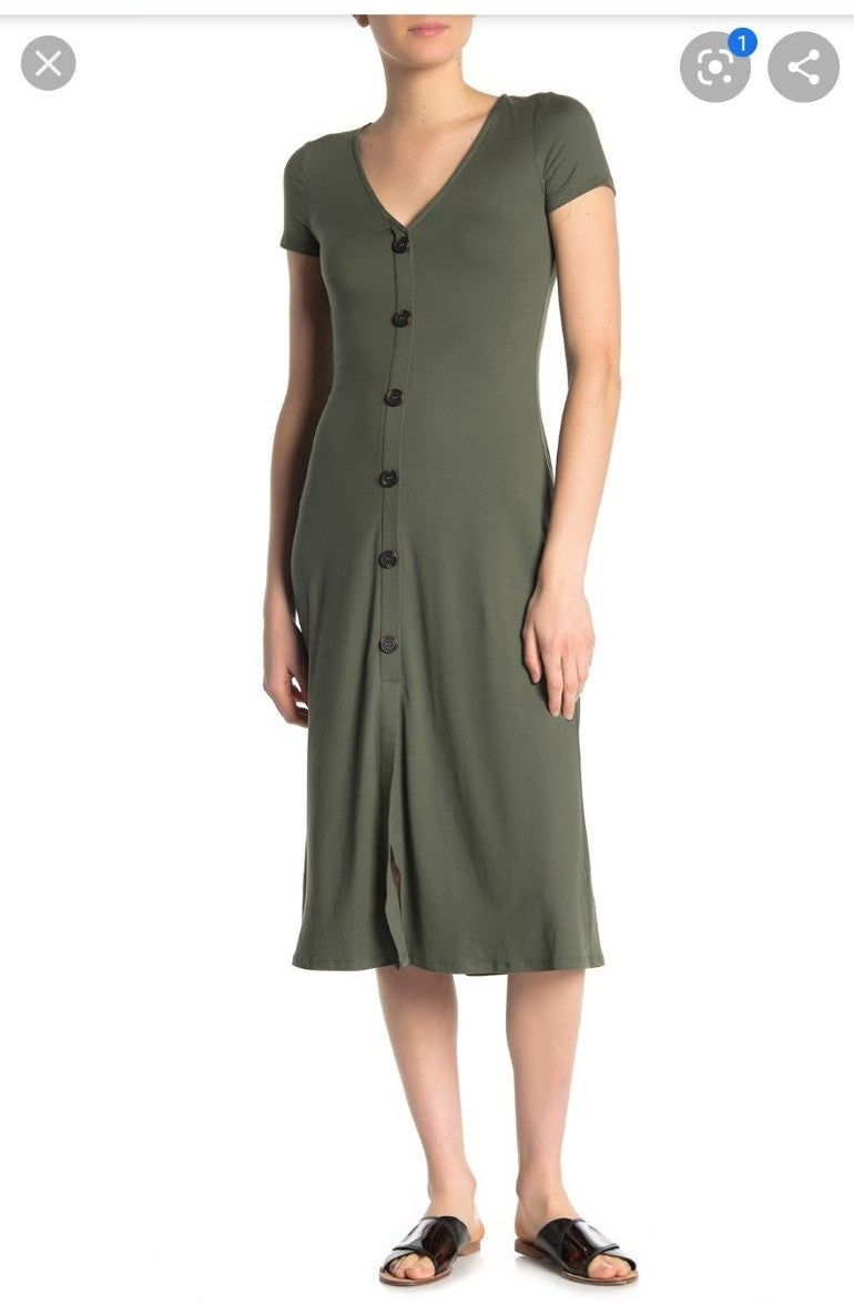NWT Love, Fire Button Jersey Midi Dress