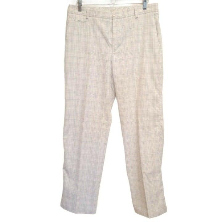 Men's 32x32 Nike Golf Pants - White Gray Plaid - Dri-Fit - Polyester