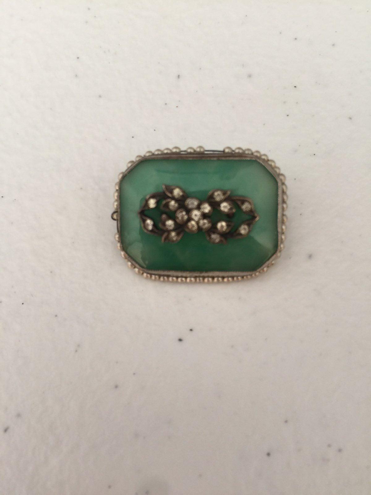 Antique Victorian Sterling, Jade Broo
