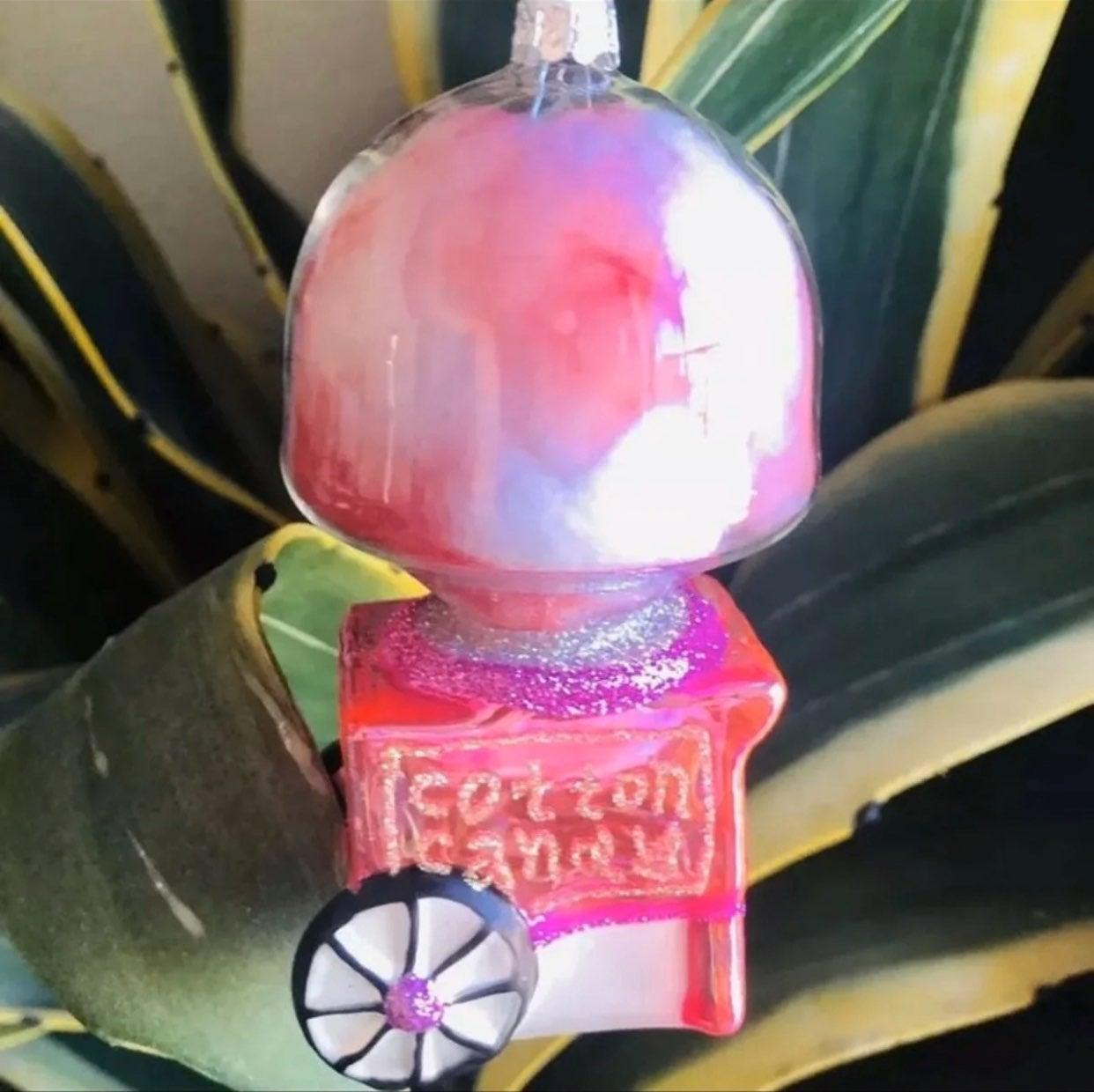 cotton candy cart glass ornament pink
