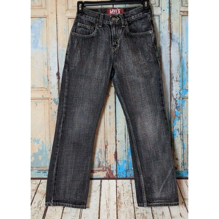 Levis 514 Slim Straight Boys Size 10 Reg 25 X 25 Black Denim Jeans Light Wash