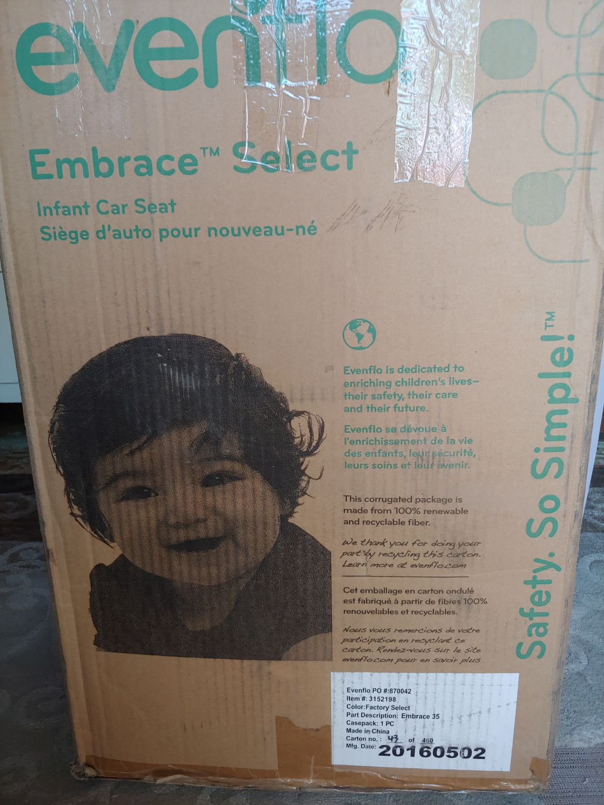 Evenflo Embrace Select Infant Carseat