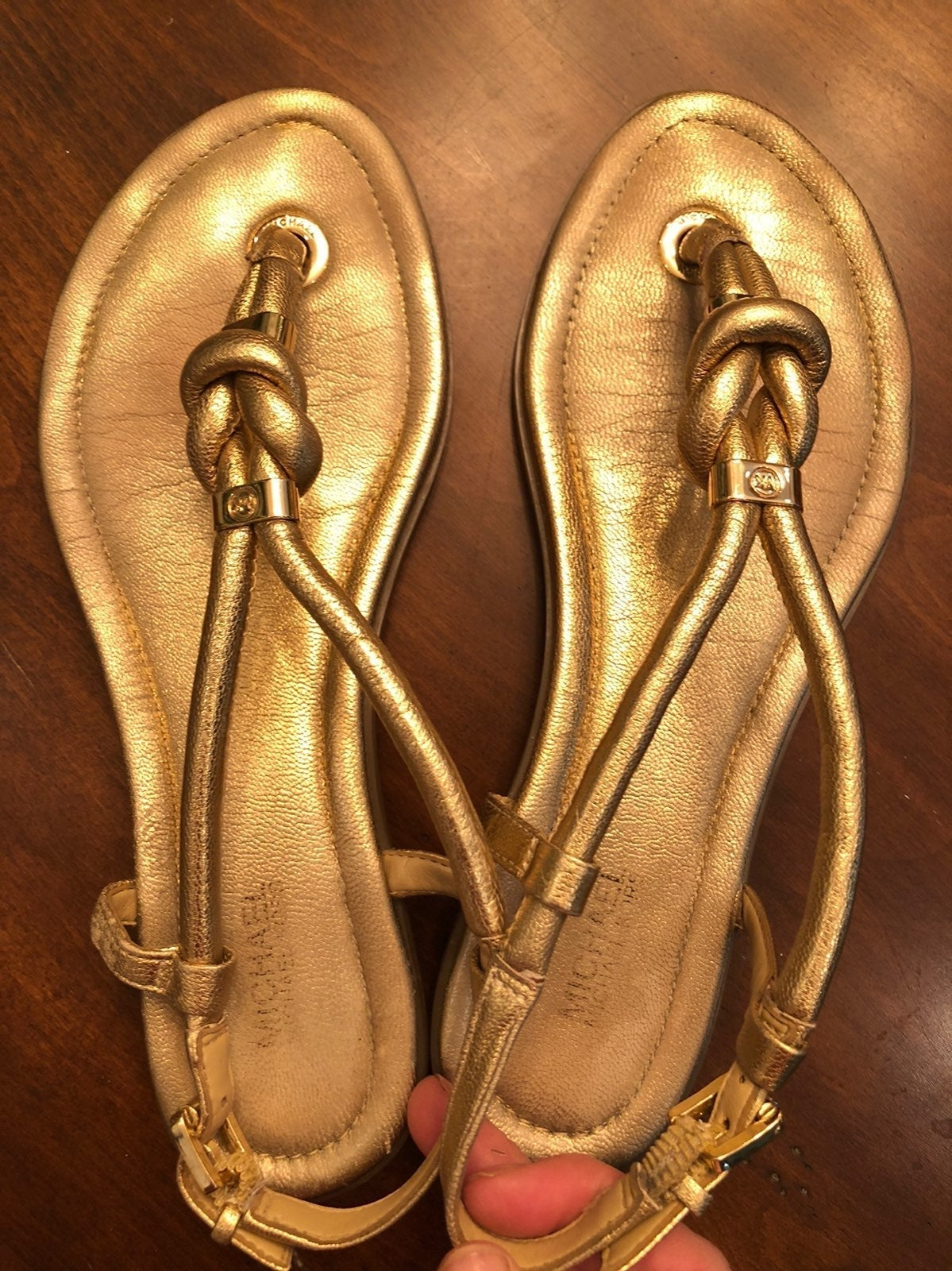 Michael Kors MK gold sandals