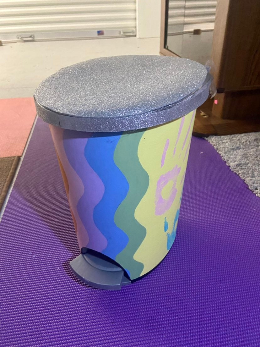Hand painted trash can