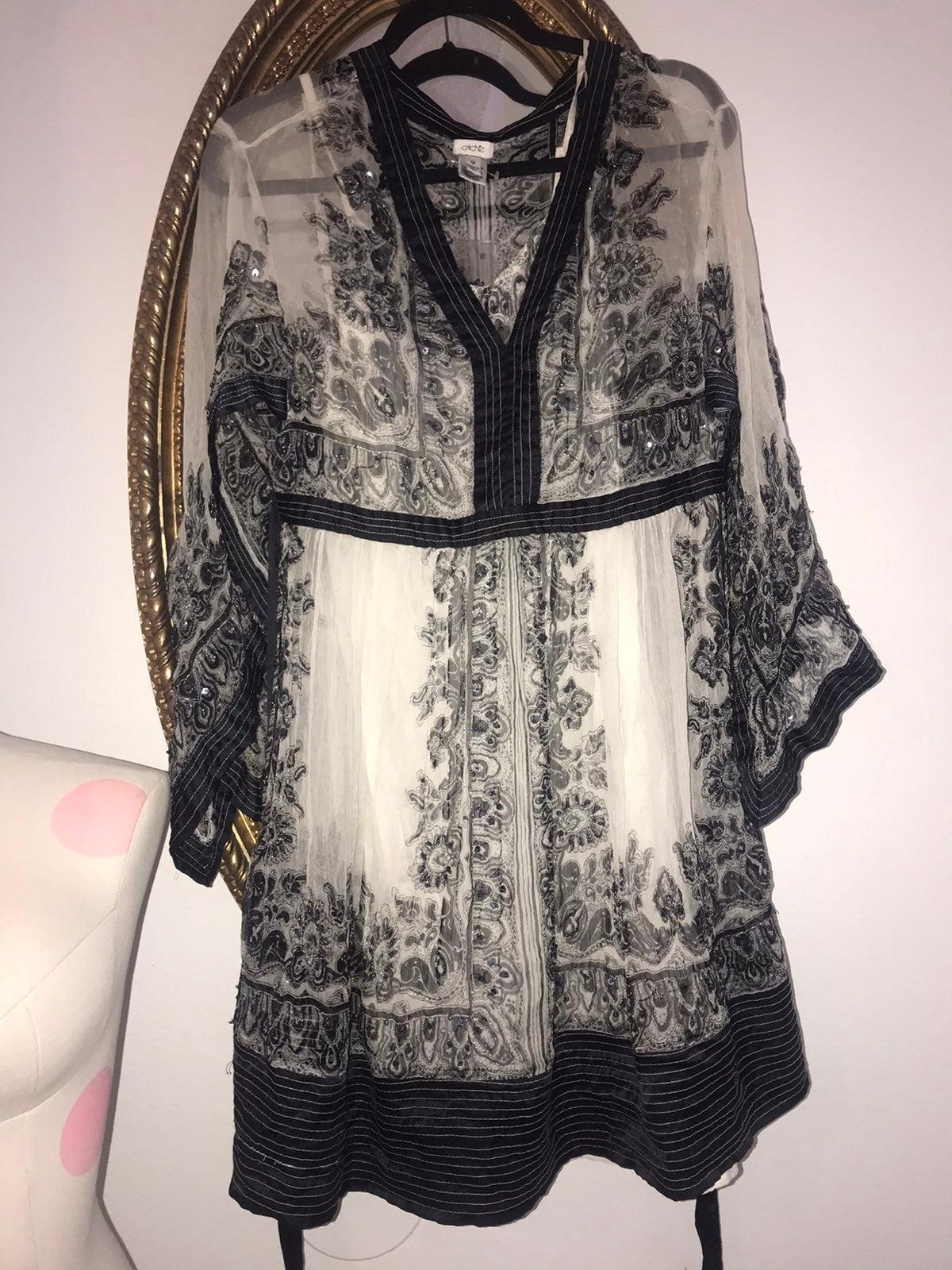 Cache Sheer Beaded Tunic Dress Med.