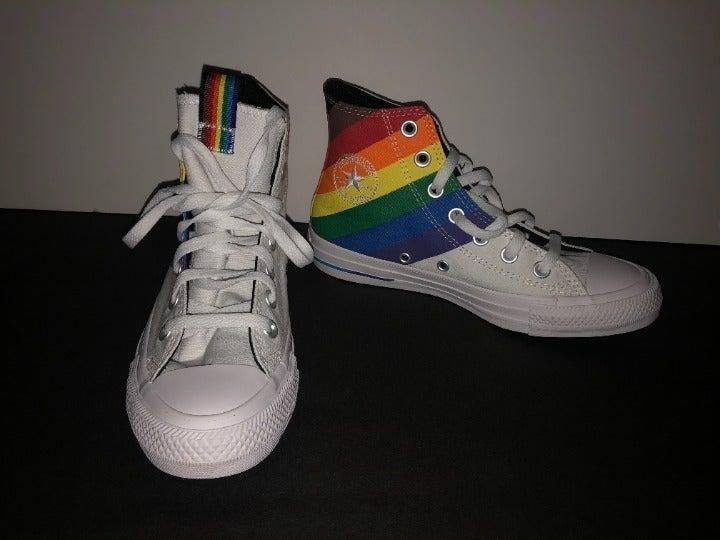Rainbow (PRIDE) + white colored converse