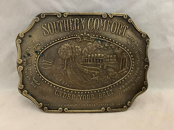 Southern Comfort Brass Belt Buckle