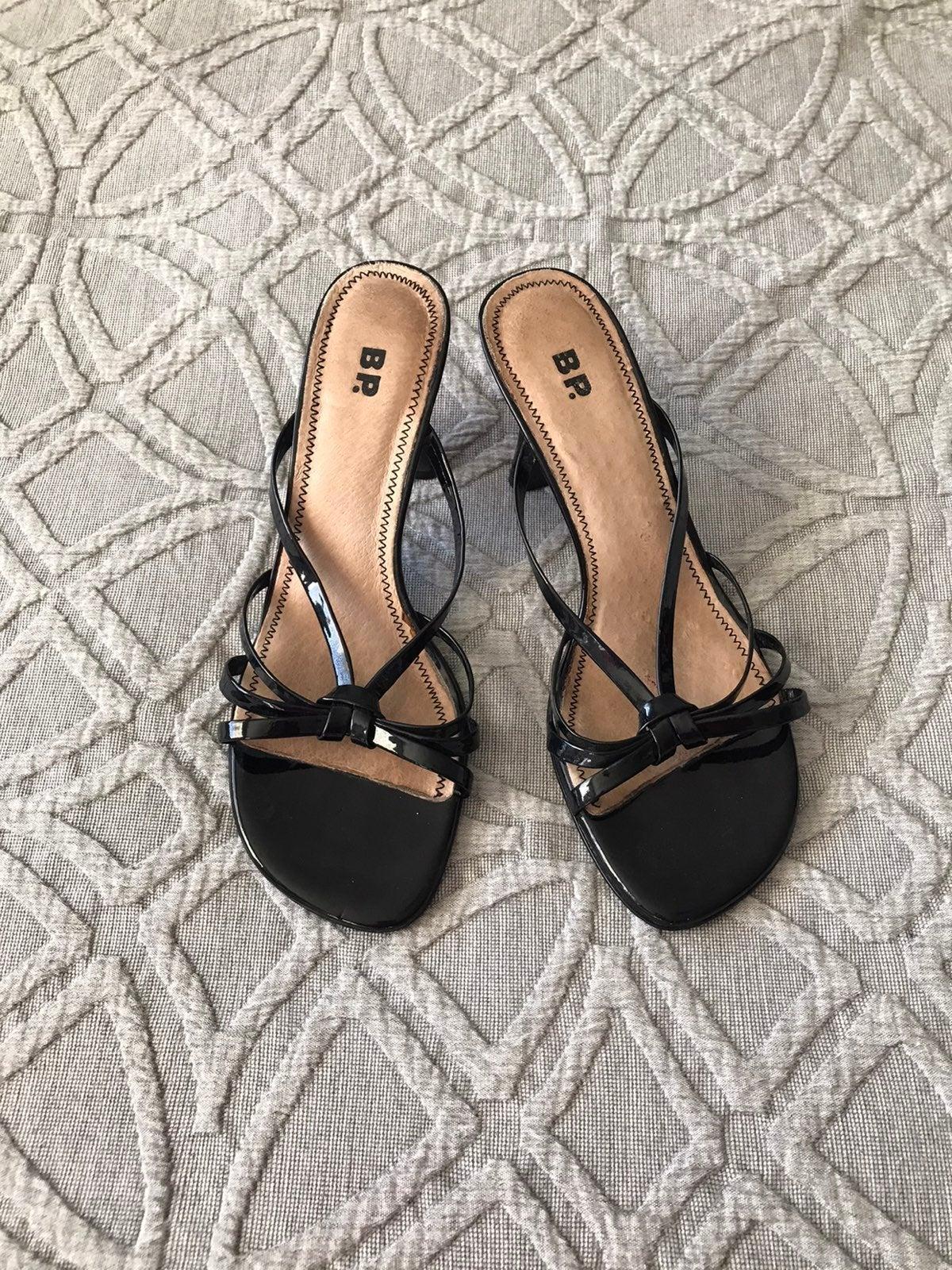 "BP Patent Leather Black 3"" Slide Sandals"