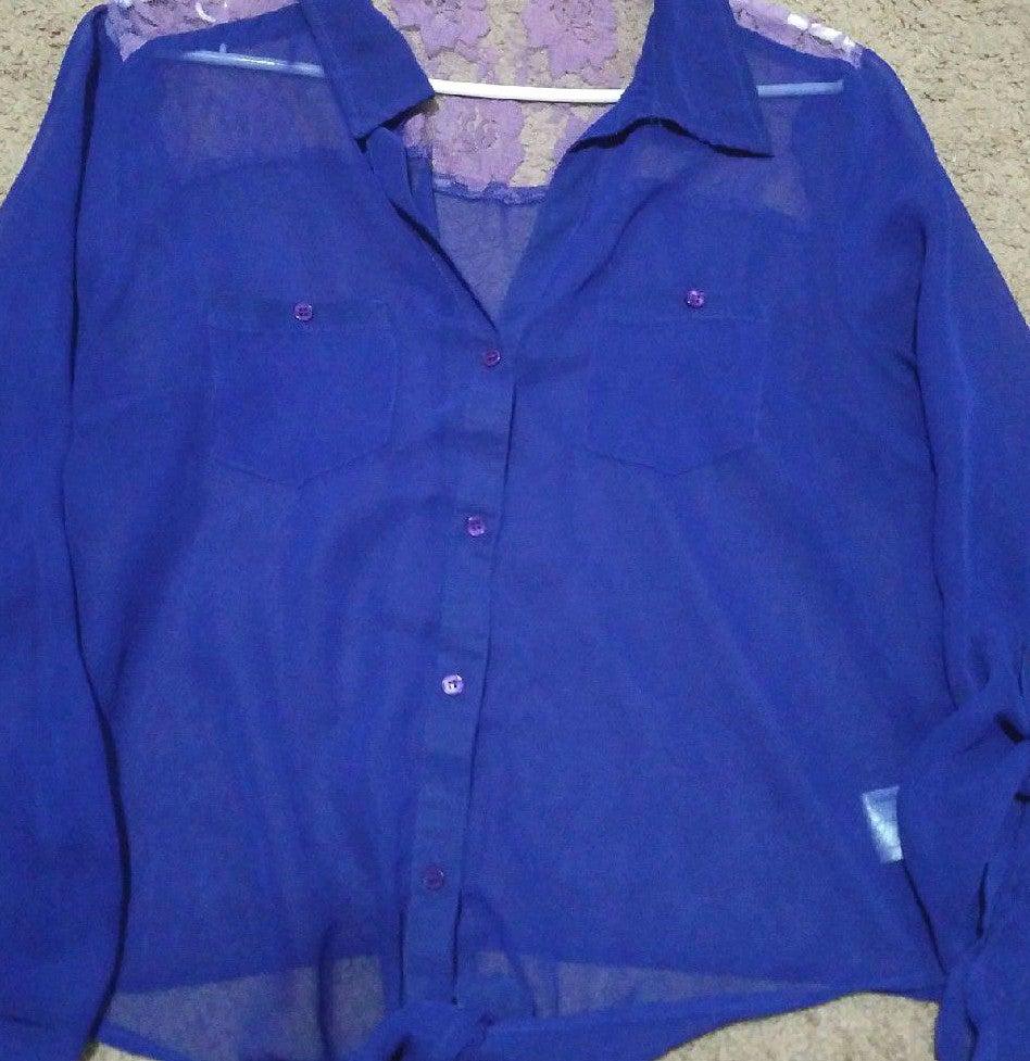 L.E.I Long Sleeve dark Purple blouse