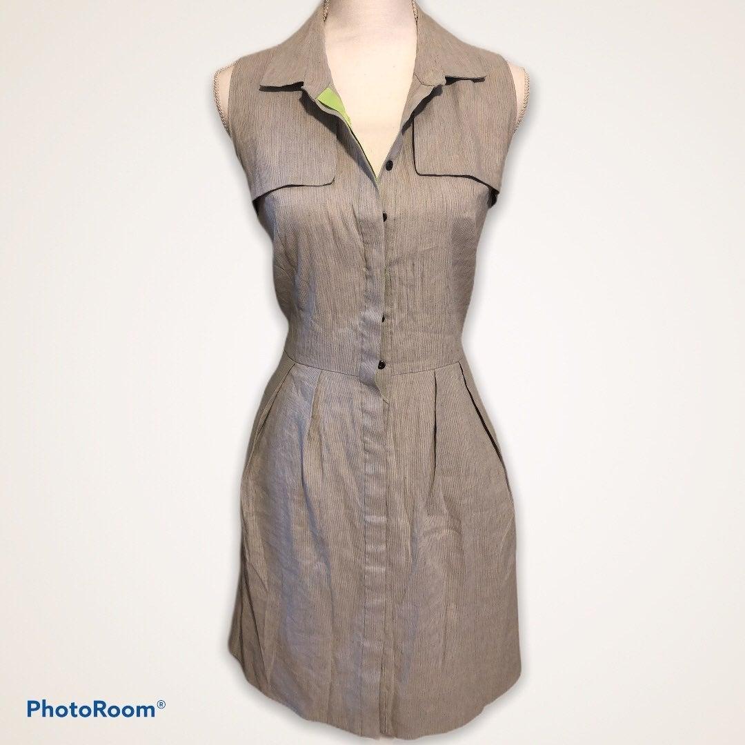 Tahari Linen Sleeveless Button Up Dress