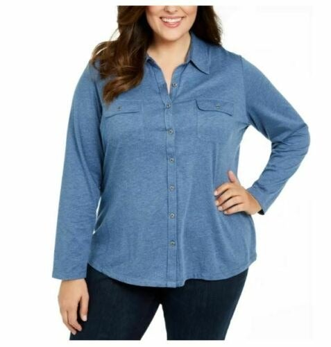 Karen Scott Button Front Top Shirt 2X
