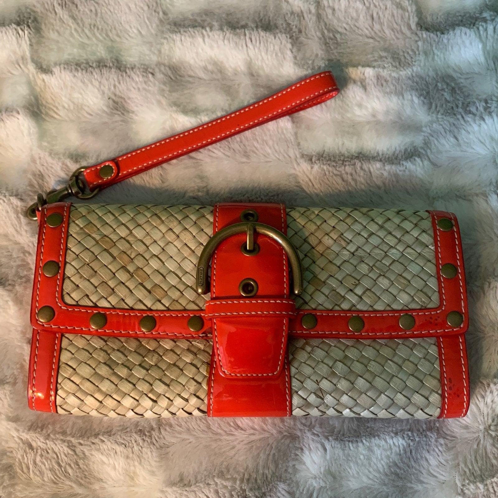 Coach wicker clutch purse