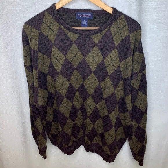 Roundtree Yorke argyle brown sweater XL