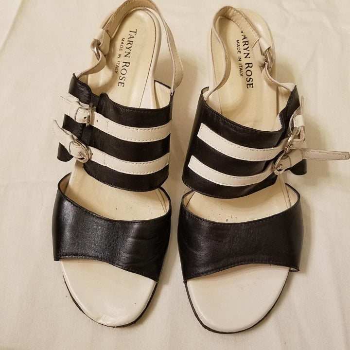 Taryn Rose black and white sandals