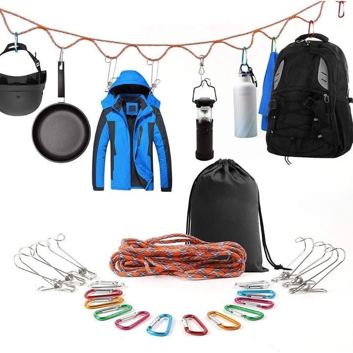 Campsite Storage Strap with 12pc Buckles & 6pc Clothes Pins for Hanging Storage