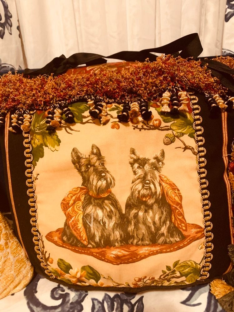 Pillow with two schnauzers on front
