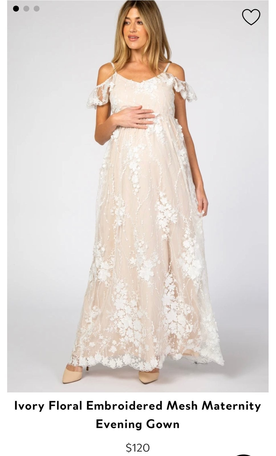 Ivory Floral Mesh Maternity Gown