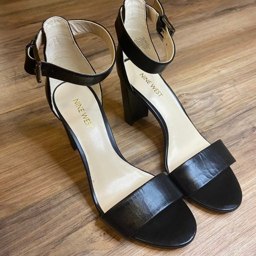 Nine West NWNORA Black Leather Thick Heels 7M