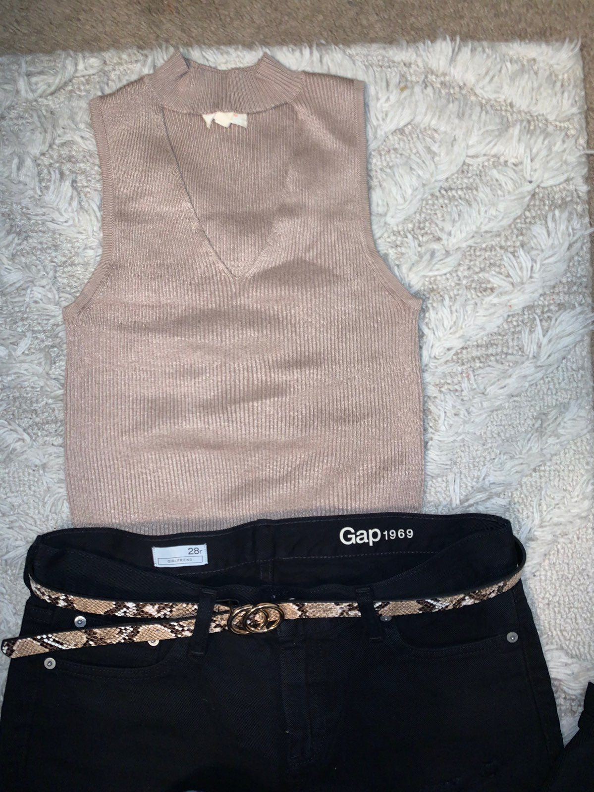 Taupe Sweater Cut out Top Medium