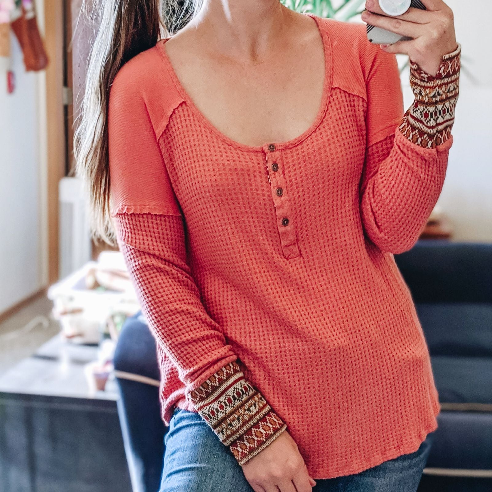 Altar'd State Waffle Knit Thermal Top