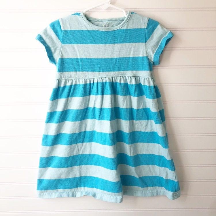 L.L. Bean Blue Striped Cotton Dress