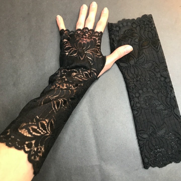 Long Black Lace Gothic Wedding Gloves