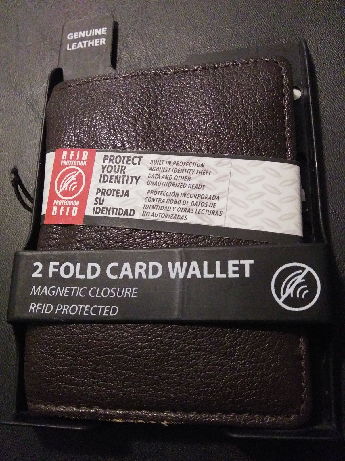 Leather 2 Fold Card Wallet with magnetic