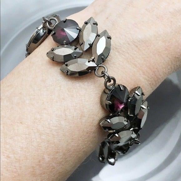 Purple Gunmetal Crystal Bracelet