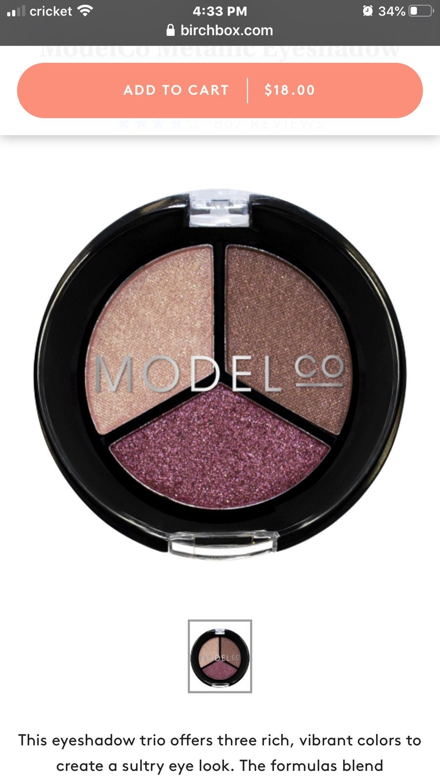 Model Co metallic Eyeshadow trio