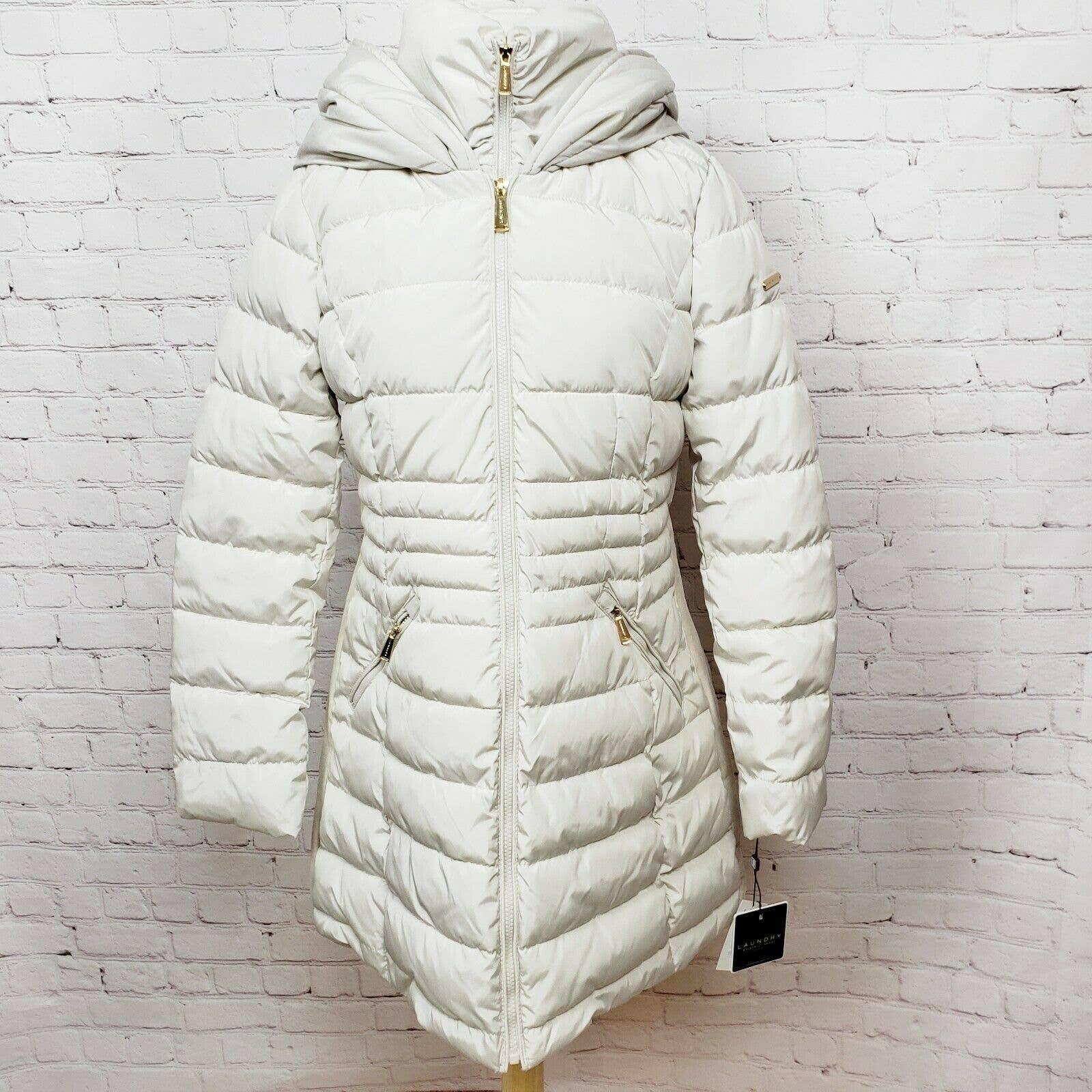 Laundry Shelli Segal Puffer Coat Ivory