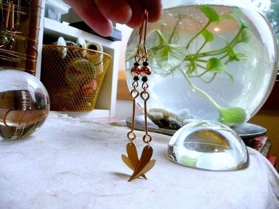 Copper & Brass Heart Dangle Earrings