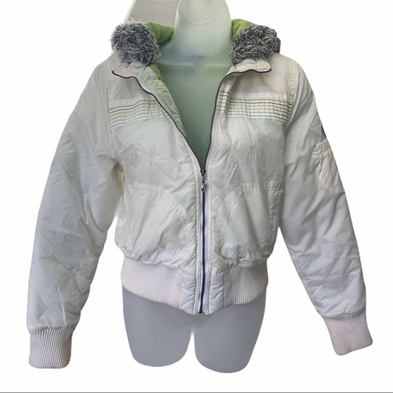 Roxy Full Zip Puffer Jacket White Green