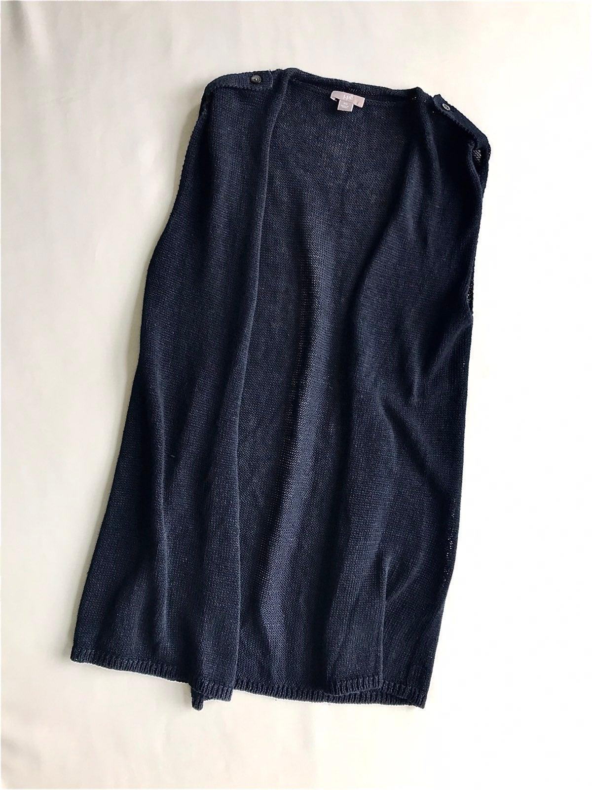 J Jill XS Cardigan Sweater Vest Navy