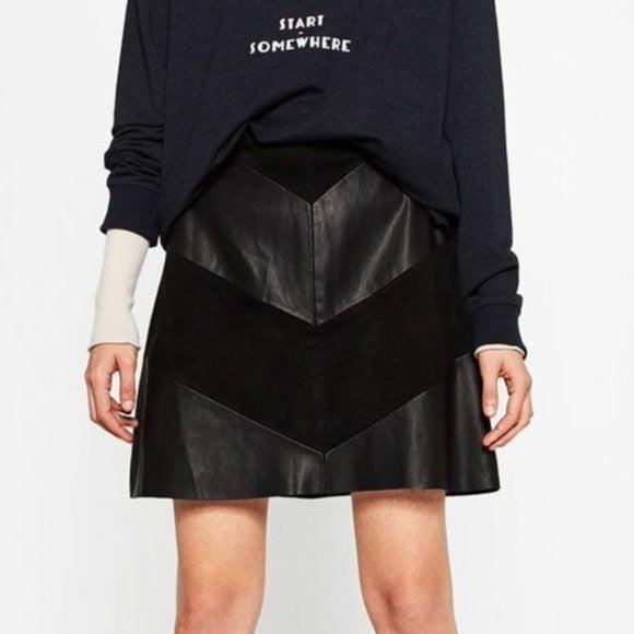 ZARA Vegan Leather Suede Mini Skirt M