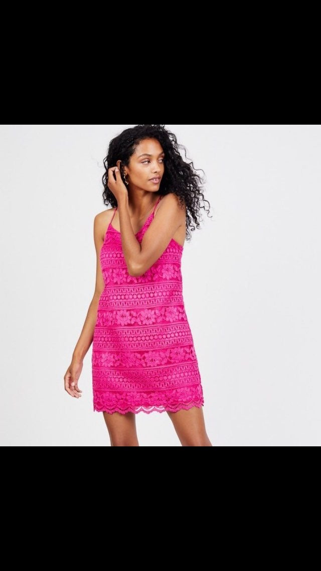 1. State Hot Pink Racerback Lace Dress