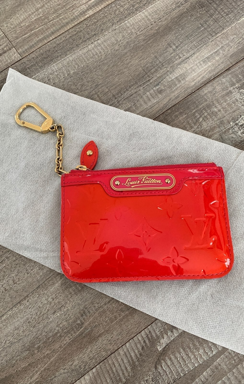 Louis vuitton red cles coin pouch wallet