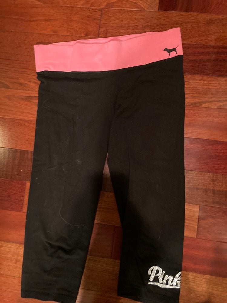 Pink sparkle leggings cropped