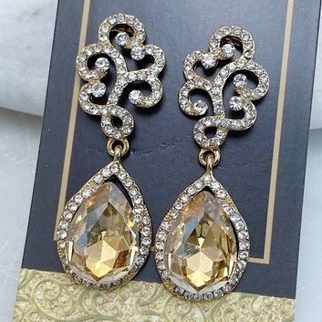 Yellow Crystal Drop Earrings