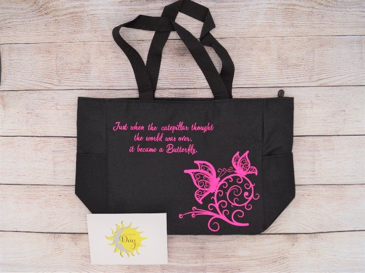 Butterfly Caterpillar Quote Tote Bag