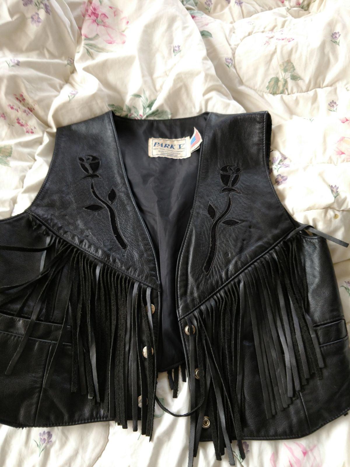 Woman's black leather vest